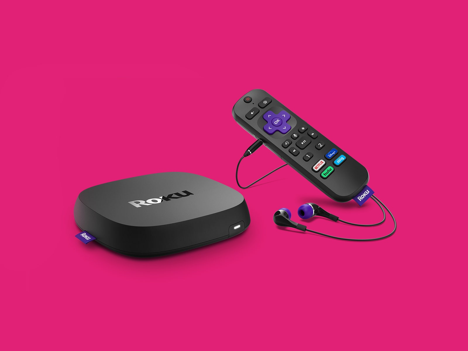 Roku device remote and headphones