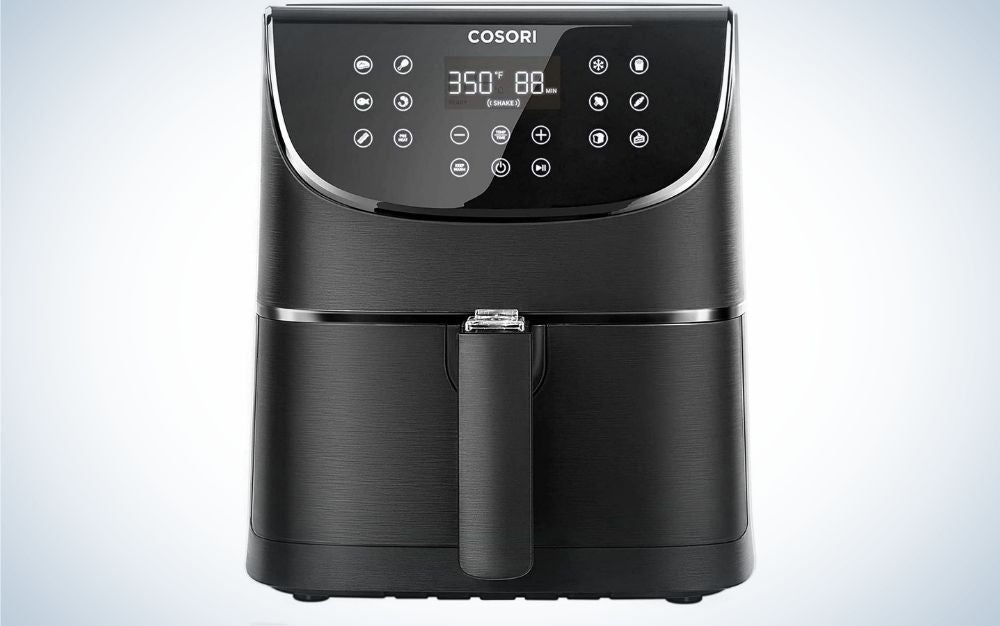 Black COSORI Air fryer with digital display from front.